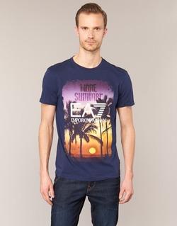 vaatteet Miehet Lyhythihainen t-paita Emporio Armani EA7 TRAIN GRAPHIC Blue