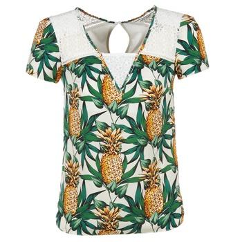 vaatteet Naiset Topit / Puserot Naf Naf E-ANANAS White / Green / Yellow