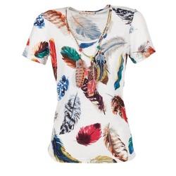 vaatteet Naiset Lyhythihainen t-paita Derhy JACQUOT White / Monivärinen