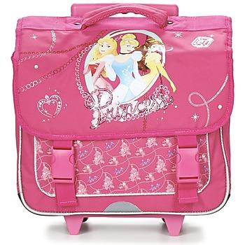 laukut Tytöt Pyörillä kulkevat koululaukut Disney PRINCESSES CARTABLE TROLLEY 38CM Pink