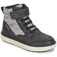 kengät Pojat Korkeavartiset tennarit Geox J MATT.B ABX B Grey / Black