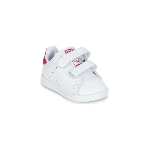 kengät Tytöt Matalavartiset tennarit adidas Originals STAN SMITH CF I White / Pink