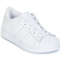 kengät Tytöt Matalavartiset tennarit adidas Originals SUPERSTAR White
