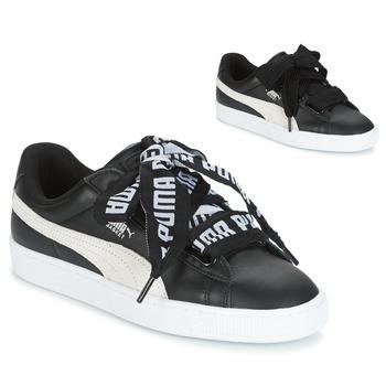 Puma Basket Heart DE Black   White - Ilmainen toimitus osoitteessa  Spartoo.fi! ! - kengät Matalavartiset tennarit Naiset 82 5f0b07a858