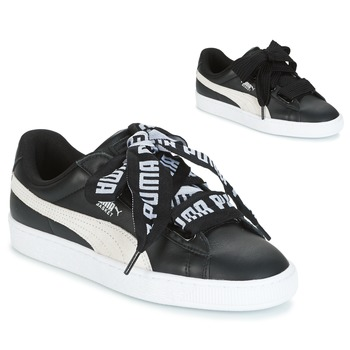 kengät Naiset Matalavartiset tennarit Puma Basket Heart DE Black / White