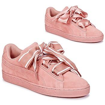 kengät Naiset Matalavartiset tennarit Puma Basket Heart Satin Pink