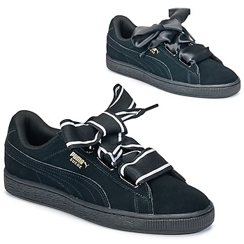 kengät Naiset Matalavartiset tennarit Puma Basket Heart Satin Black