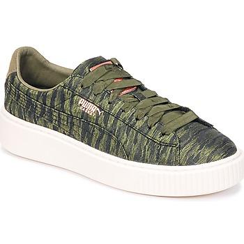 kengät Naiset Matalavartiset tennarit Puma Basket Platform Bi Color Kaki