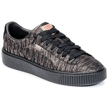 kengät Naiset Matalavartiset tennarit Puma Basket Platform Bi Color Black / Pink