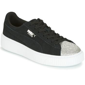 kengät Naiset Matalavartiset tennarit Puma SUEDE PLATFORM GLAM JR Black / Hopea
