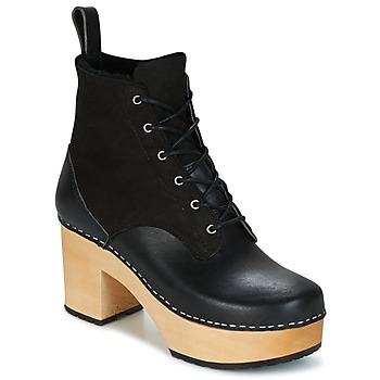 kengät Naiset Nilkkurit Swedish hasbeens HIPPIE LACE UP Black