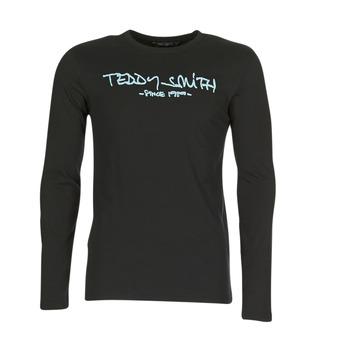 vaatteet Miehet T-paidat pitkillä hihoilla Teddy Smith TICLASS 3 ML Black