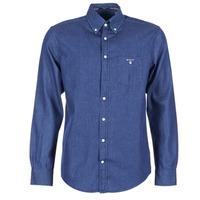 vaatteet Miehet Pitkähihainen paitapusero Gant THE INDIGO SHIRT Blue