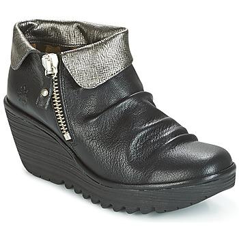 kengät Naiset Bootsit Fly London YOXI Black / Argenté
