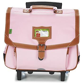 laukut Tytöt Pyörillä kulkevat koululaukut Tann's LES INCONTOURNABLES TROLLEY CARTABLE 38CM Pink / Ruskea / musta
