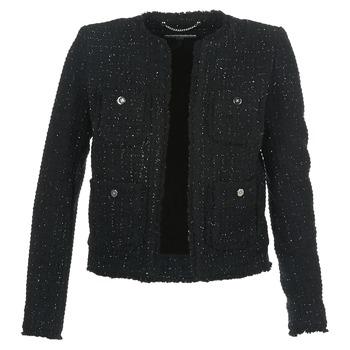 vaatteet Naiset Takit / Bleiserit MICHAEL Michael Kors FRAY TWD 4PKT JKT Black / Silver