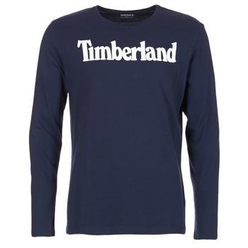 vaatteet Miehet T-paidat pitkillä hihoilla Timberland LINEAR LOGO PRINT RINGER Laivastonsininen