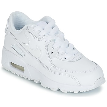 kengät Pojat Matalavartiset tennarit Nike AIR MAX 90 LEATHER PRE-SCHOOL White