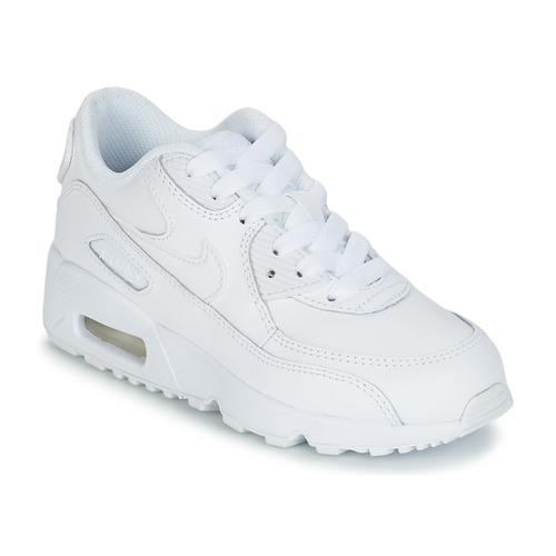 kengät Lapset Matalavartiset tennarit Nike AIR MAX 90 LEATHER PRE-SCHOOL White