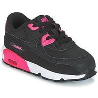 kengät Tytöt Matalavartiset tennarit Nike AIR MAX 90 LEATHER TODDLER Black / Pink