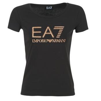 vaatteet Naiset Lyhythihainen t-paita Emporio Armani EA7 TRAIN LOGO SERIES GLITTER Black / Dore / Pink