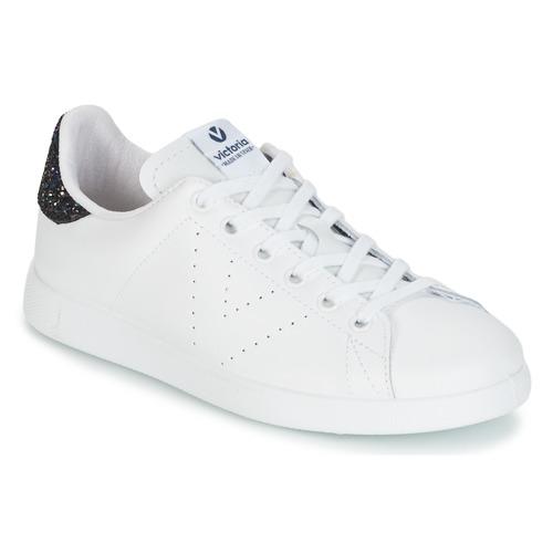 kengät Naiset Matalavartiset tennarit Victoria DEPORTIVO BASKET PIEL Valkoinen / Blue