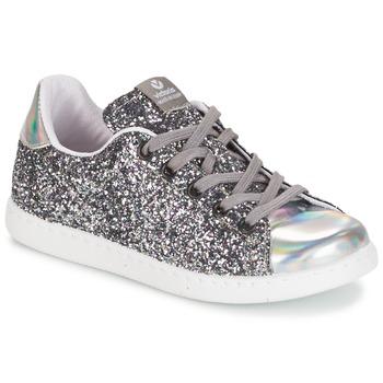 kengät Tytöt Matalavartiset tennarit Victoria DEPORTIVO BASKET GLITTER KID Silver