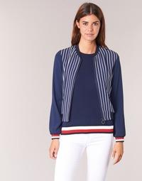 vaatteet Naiset Takit / Bleiserit Tommy Hilfiger NALOME GLOBAL STP BOMBER Laivastonsininen / Valkoinen / Punainen