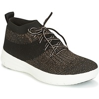 kengät Naiset Korkeavartiset tennarit FitFlop UBERKNIT SLIP-ON HIGH TOP SNEAKER Black / Bronze