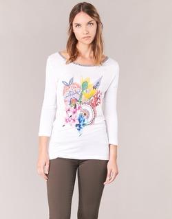vaatteet Naiset T-paidat pitkillä hihoilla Desigual TERON White
