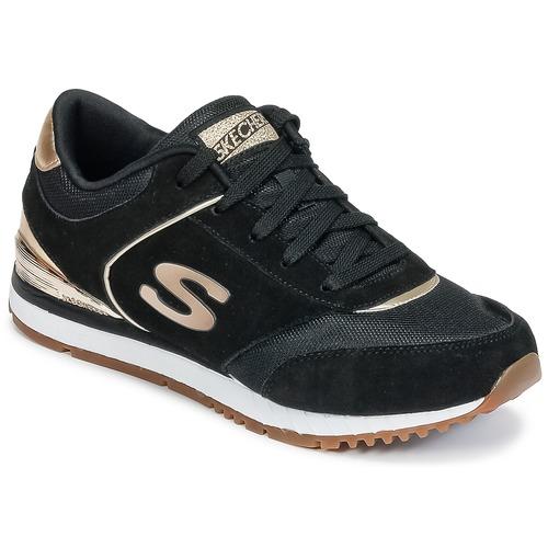 kengät Naiset Matalavartiset tennarit Skechers SUNLITE Black / Kulta