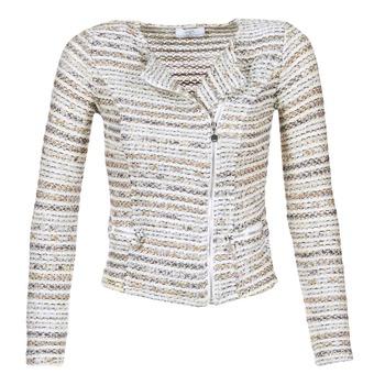 vaatteet Naiset Takit / Bleiserit Le Temps des Cerises MIRABEAU Beige / White