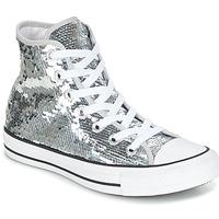 kengät Naiset Korkeavartiset tennarit Converse CHUCK TAYLOR ALL STAR SEQUINS HI SILVER/WHITE/BLACK Silver