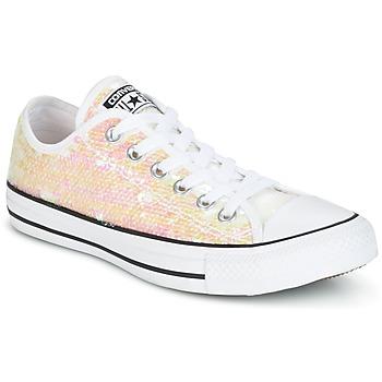 kengät Naiset Matalavartiset tennarit Converse CHUCK TAYLOR ALL STAR SEQUINS OX WHITE/BLACK/WHITE White / Paljetti
