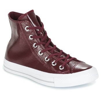 kengät Naiset Korkeavartiset tennarit Converse CHUCK TAYLOR ALL STAR CRINKLED PATENT LEATHER HI DARK SANGRIA/DA BORDEAUX / White