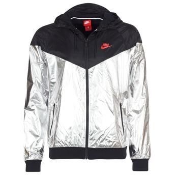 vaatteet Miehet Tuulitakit Nike WINDRUNNER METALLIC Black / Argenté