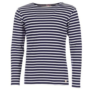 vaatteet Miehet T-paidat pitkillä hihoilla Armor Lux GELGA Laivastonsininen / White