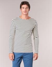 vaatteet Miehet T-paidat pitkillä hihoilla Armor Lux GELGA White / Laivastonsininen