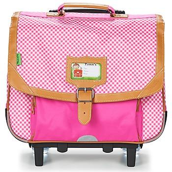 laukut Tytöt Pyörillä kulkevat koululaukut Tann's LES CHICS FILLES TROLLEY CARTABLE 38CM Pink