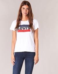 vaatteet Naiset Lyhythihainen t-paita Levi's THE PERFECT TEE White