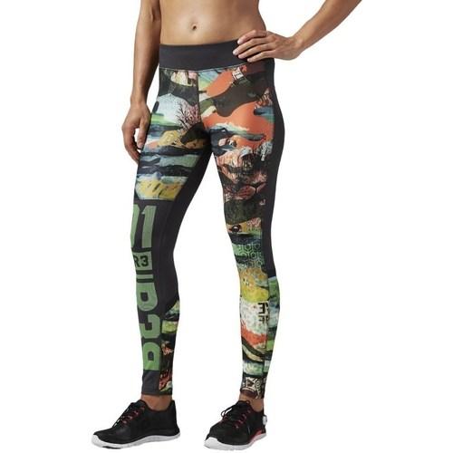 vaatteet Naiset Legginsit Reebok Sport OS Elite Mesh Tight Mustat, Vihreät, Oranssin väriset