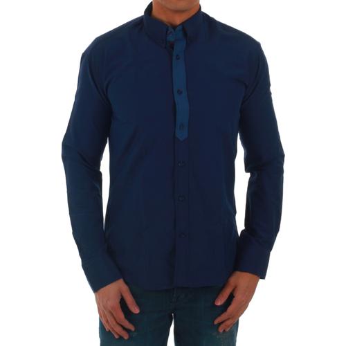 vaatteet Miehet Pitkähihainen paitapusero Sz Collection Man SZM06212 Azul marino