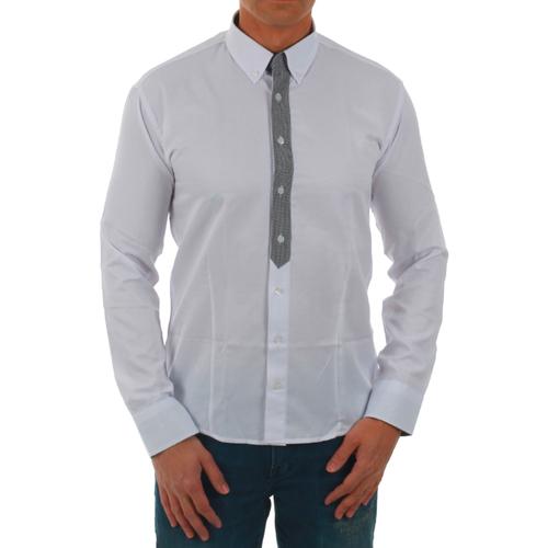 vaatteet Miehet Pitkähihainen paitapusero Sz Collection Man SZM06219 Blanco