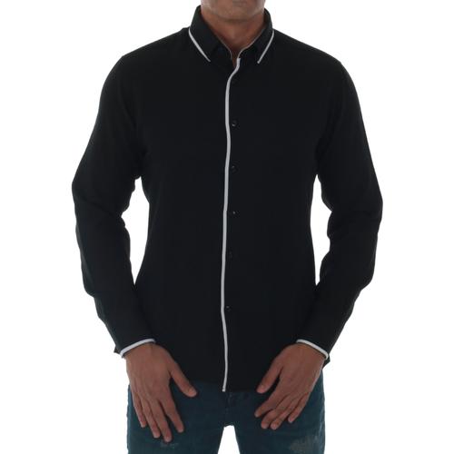 vaatteet Miehet Pitkähihainen paitapusero Sz Collection Man SZM06433 Negro