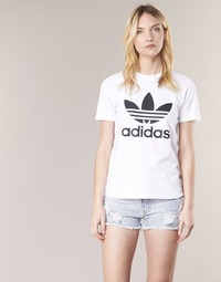 vaatteet Naiset Lyhythihainen t-paita adidas Originals TREFOIL TEE Valkoinen
