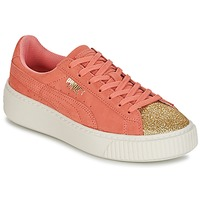 kengät Tytöt Matalavartiset tennarit Puma SUEDE PLATFORM GLAM JR Orange / Gold
