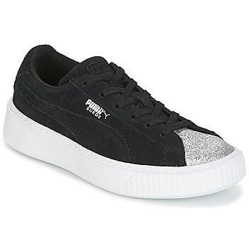 kengät Tytöt Matalavartiset tennarit Puma SUEDE PLATFORM GLAM PS Black / Hopea