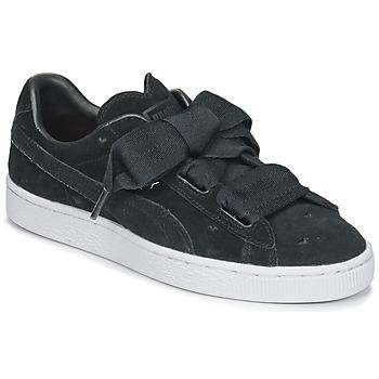 kengät Tytöt Matalavartiset tennarit Puma SUEDE HEART VALENTINE JR Black