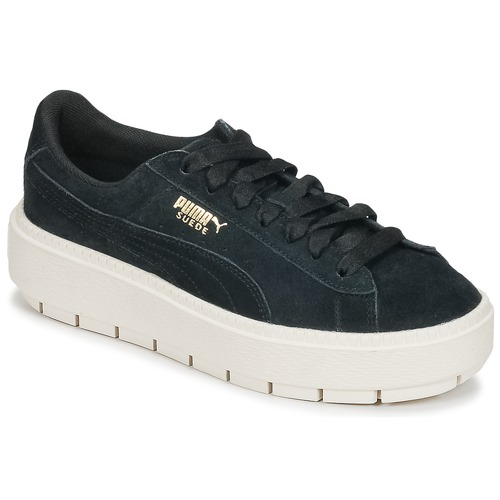 kengät Naiset Matalavartiset tennarit Puma SUEDE PLATFORM TRACE W'S Black / White