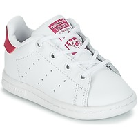 kengät Tytöt Matalavartiset tennarit adidas Originals STAN SMITH I White / Pink